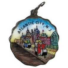 Rare Sterling Silver and Enamel Round Atlantic City Charm Germany
