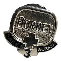 Borden Dairy 3 Year Safety Award Sterling Silver Tie Tack Lapel Pin