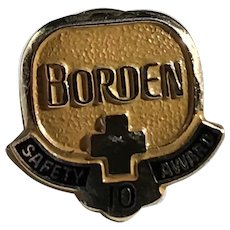 Borden Dairy 10 Year Safety Award 10K Gold Tie Tack Lapel Pin