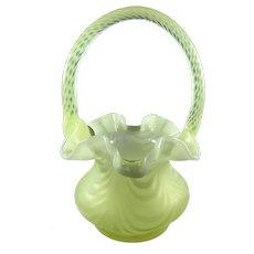 Fenton Art Glass Topaz Opalescent Drapery Optic Basket - George Fenton