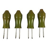 Set of Four Art Deco Green Bakelite Corn Cob Holders