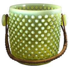 Rare Fenton Topaz Opalescent Hobnail Cookie Jar No Lid