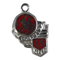 General Electric 15 Year Service Award Charm in Sterling Silver