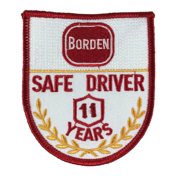 Borden Dairy 11 Year Safe Driver Award Patch