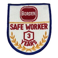 Borden Dairy 3 Year Safe Worker Patch
