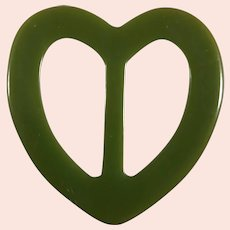 Green Bakelite Heart Shaped Belt Buckle or Scarf Clip