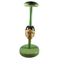 Handpainted Wooden Flapper Hat Stand 1920's