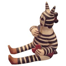 Hopi pueblo sitting koshare clown pottery sculpure by Water Fox David Seckletstewa circa 1990