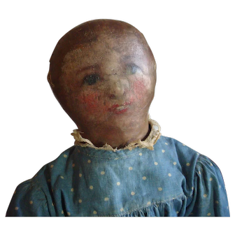 Painted face rag doll in blue dress 17 inches, has rosy cheeks, red open mouth with little teeth!