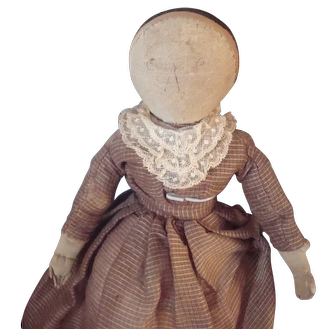Love this Old cloth doll with snood 1870-1880 era