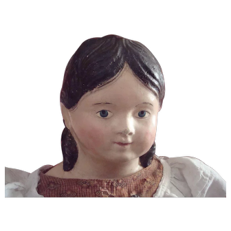 Rare old early German papier mache shoulder head doll with long curls, original clothes!
