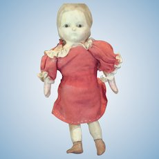 """Early uncommon little 6"""" Mottschmann Girl, also known as a Taufling doll,"""