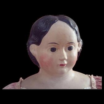 Big girl,  34 inch Greiner papier mache doll with provenance