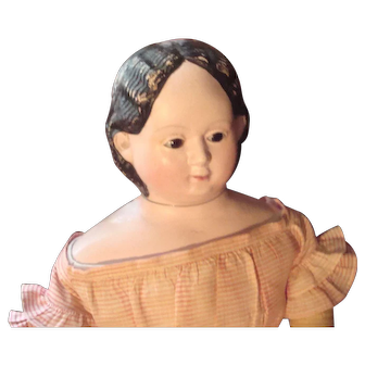 Exquisite glassy eye large Greiner 1858 Papier Mache doll, gorgeous clothes and shoes