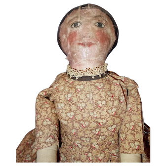 Great larger early oil painted folk doll