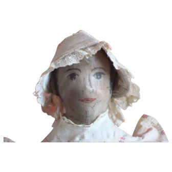 """This very nice antique painted face doll that has some very nice qualities. 25"""" tall early folk art appearance"""