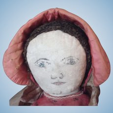 Big painted face cloth doll with  brown wool fabric hair  published in Linda Edwards iconic book