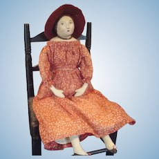 Sweet vintage inspired artist doll, very French! Nice firm cotton body on papier mache shoulderhead...ohh those eyes!