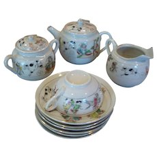 Delicate and charming Childs or dolls porcelain china tea set pieces nursery rhyme figures TUG