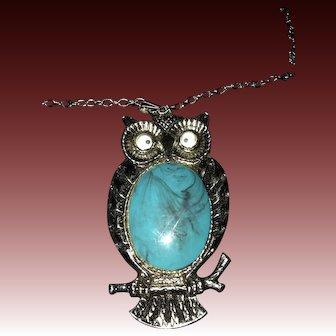 Vintage 1960'S Google Eye Owl Pendant