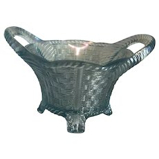 Northwood Carnival Glass Bushel Basket Novelty in Ice Blue
