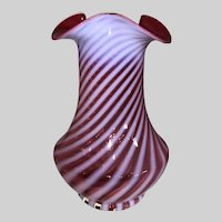 Fenton Cranberry Opalescent Spiral Optic Vase