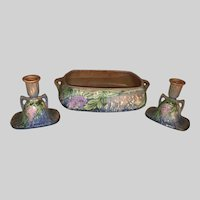 Roseville Pottery Wisteria Console Set