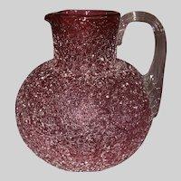 Phoenix Art Glass Cranberry Craquelle Overshot Pitcher