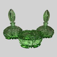 Czechoslovakia Cut Crystal Perfume Set-Green