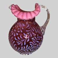 L G Wright by Fenton Cranberry Daisy and Fern Water Pitcher