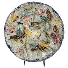 Majolica Wasmuel Bird Plate-Belgium