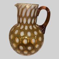 Phoenix Art Glass Amber Opalescent Coindot Water Pitcher