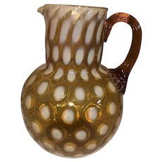 Phoenix Art Glass Amber Opalescent Coindot Water Pitcher