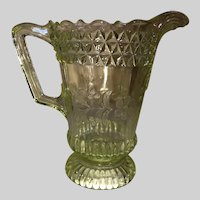 Adams Glass Co Vaseline Wildflower Water Pitcher-EAPG