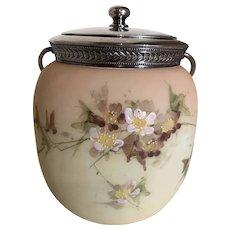 Mount Washington Glass Biscuit Jar-Enameled Florals