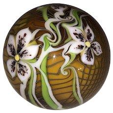 Orient & Flume Art Glass Paperweight-Florals