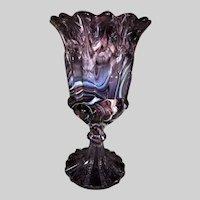 English Purple Slag Glass Footed Vase