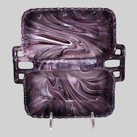 Davidson Purple Slag Glass Double Sided Glass Tray