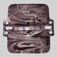 Davidson Glass Purple Slag Glass Tray