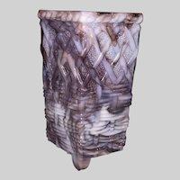 English Purple Slag Glass Spill Vase-Basketweave and Lattice