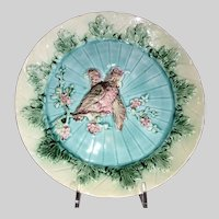 European Majolica Plate with Cockatoos-Early 1900's