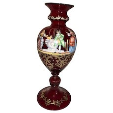 Italian Salviati Ruby Enameled Art Glass Vase