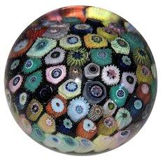 Italian Murano Art Glass Millefiori Paperweight-Multicolor