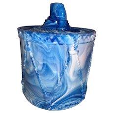 English Blue Slag Glass Drum Biscuit Jar