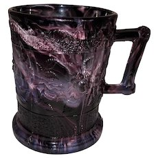 English Purple Slag Glass Mug-Banded Roses