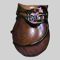 Charles Lotton Art Glass Lava Vase-1989