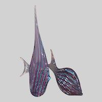 Italian Murano Pair Ribbon Glass Figural Fish