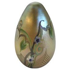 Orient & Flume Art Glass Egg Paperweight-Florals