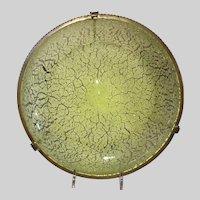Hobbs Brockunier Uranium Glass Snowstorm Bowl in Metal Frame