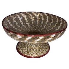 Italian Art Glass Latticino Compote